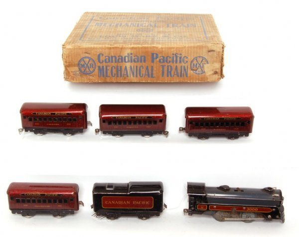 1124: Marx boxed 474 Canadian Pacific pass. set