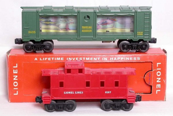 3: Lionel 3435 aquarium car OB and a 6167 caboose