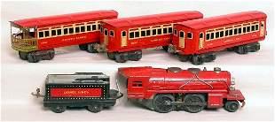 Lionel prewar red passenger 0 gauge set