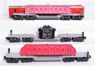 Two Lionel 6418 flatcars and a 6518 flatcar