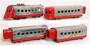 Lionel prewar 1700 JR chrome and red train set