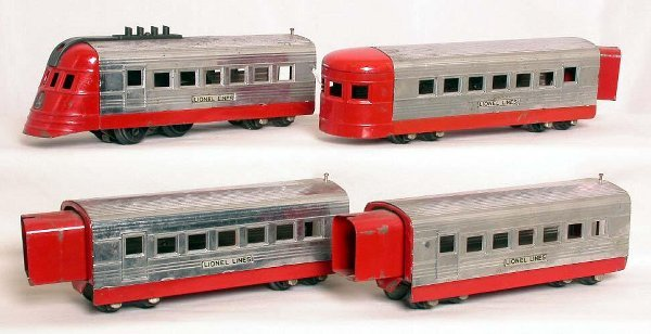 22: Lionel prewar 1700 JR chrome and red train set