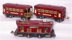 Lionel maroon 253 loco with 607 and 608