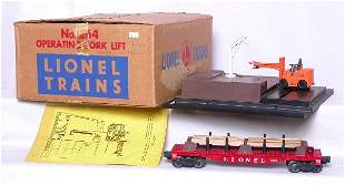 Lionel 264 operating fork lift, 6264 flatcar, OB
