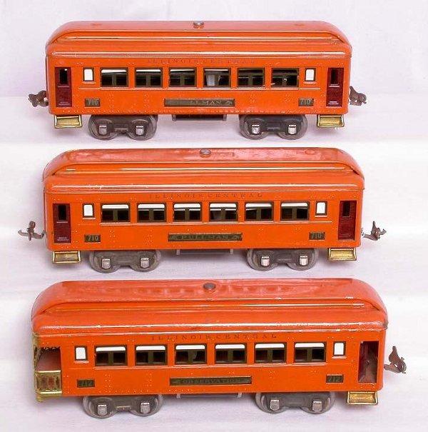321: Lionel 710, 710 and 712 orange Illinois Central