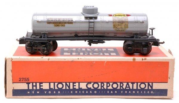 2603: Lionel 2755 Gray Sunoco Tank Boxed