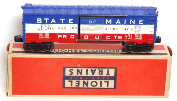 3809: Lionel 6464-275 State of Maine BAR boxcar, OB