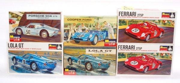 3814: Six Monogram models Cooper Ford, Porsche, Lola OB
