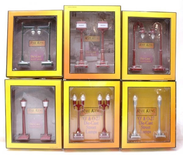 4: MTH Rail King Six 2 Lamp Sets MINT Boxed