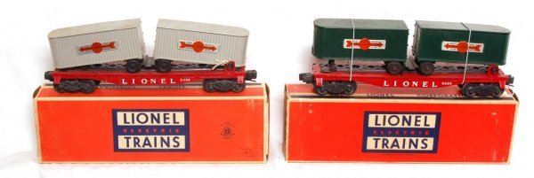 4: Two Lionel 6430 flats with original trailers, OB