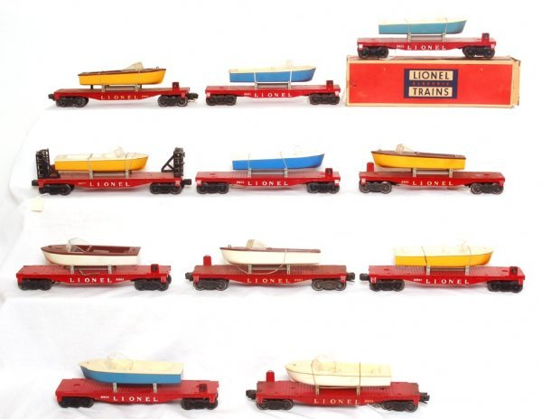 5: Eleven Lionel 6801 flatcars with boats
