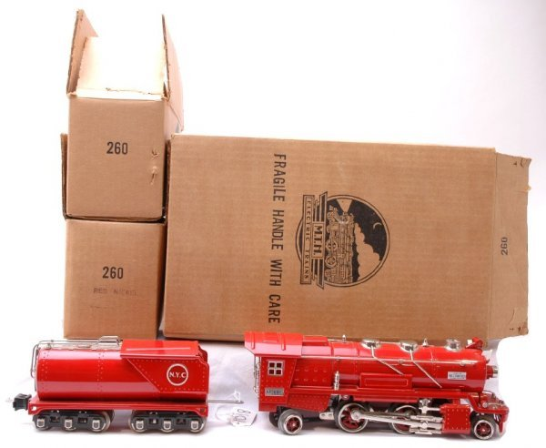 1018: MTH Red Nickel 260E Steam 260T Tender LN Boxed