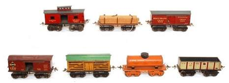 414: Group of seven Ives O gauge freight cars