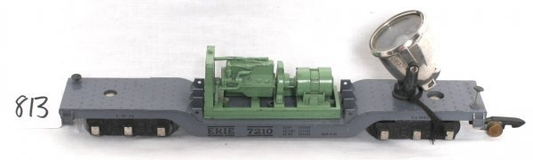 813: American Flyer 646 floodlight car green painted