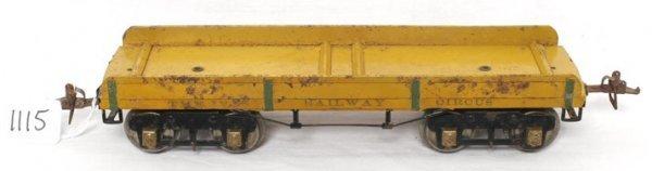 1115: Original prewar Ives Circus set flatcar 196C