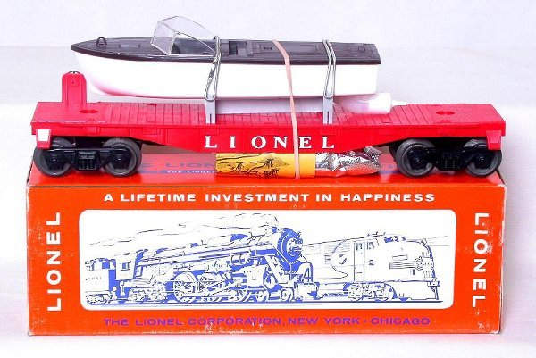 429: Mint Lionel 6501 flat with jet boat in the box