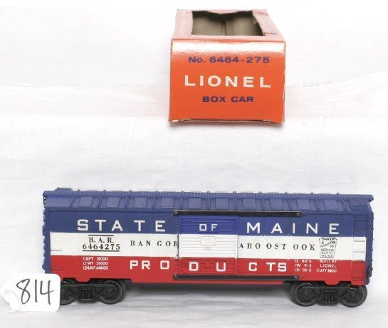 814: Lionel 6464-275 State of Maine boxcar, OB