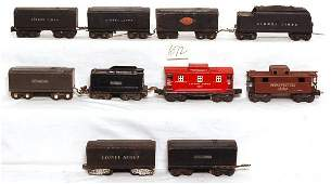 672: Eight prewar Lionel tenders and two cabooses