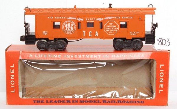 803: Mint Lionel 6517-1966 TCA bay window caboose, OB