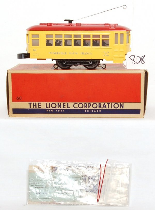 808: Nice Lionel 60 trolley, blue letters, OB