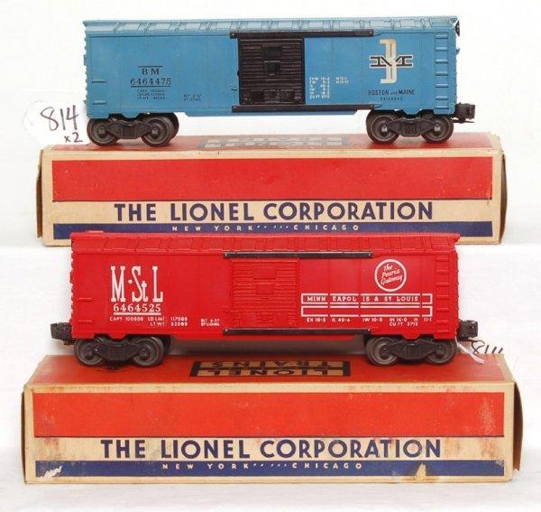 814: Lionel 6464-525 MStL, 6464-475 B&M boxcars OB