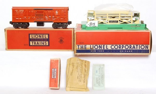 815: Nice Lionel 3656 operating cattle car outfit, OB