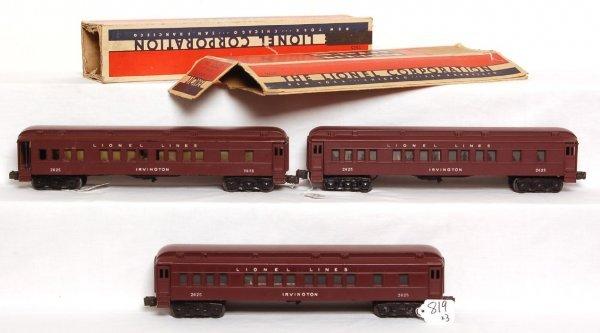 819: Three Lionel 2625 Irvington passenger cars, OB