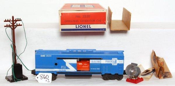 820: Nice Lionel 3530 GM generator car, OB