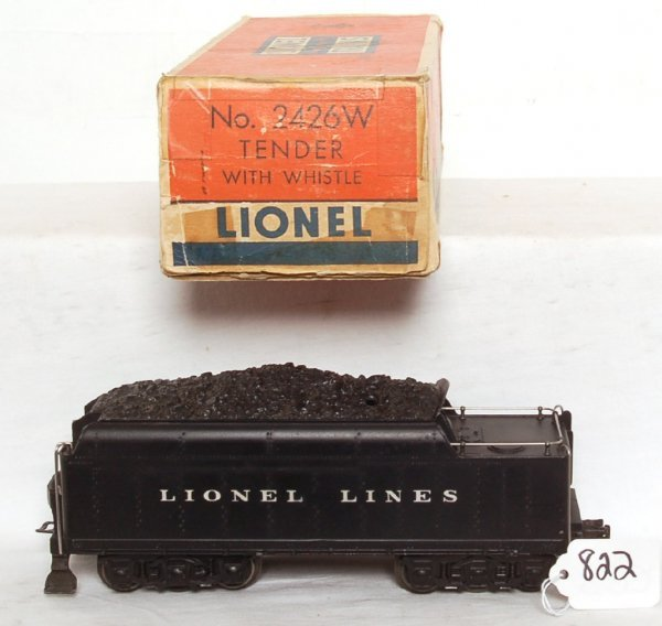 822: Lionel 2426W die cast 12 wheel tender, OB