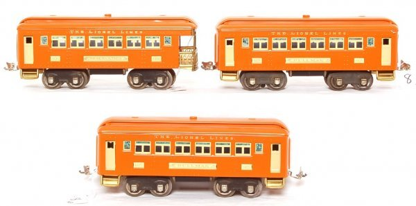 8: Lionel orange restored prewar 605, 605 and 606