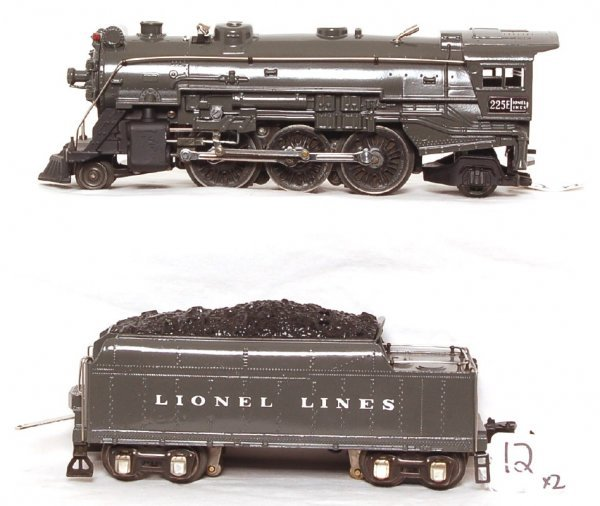 12: Lionel prewar gray 225E steam loco, die cast tender