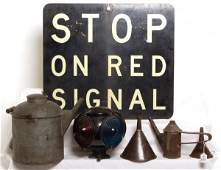 626: Railroad switch lantern, water can...