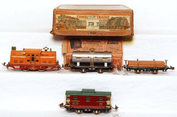815: Lionel prewar 179E set in OB, 252, 804, 831, 807