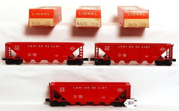 801: Three mint Lionel 6436-110 LV hoppers, OB