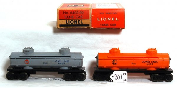 807: Lionel 6465-160 and 6465-60 tank cars, OB