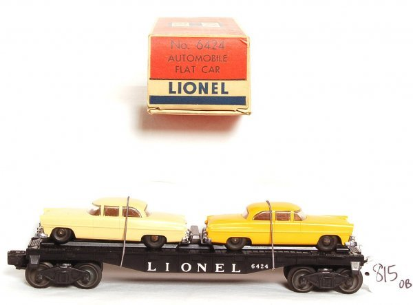 815: Nice Lionel 6424 flat with tougher auto colors, OB