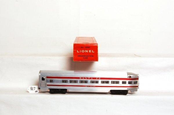 817: Unrun Lionel 2561 Santa Fe aluminum car, OB