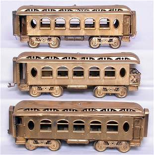 Three Lionel prewar SG pass. cars, repainted gold