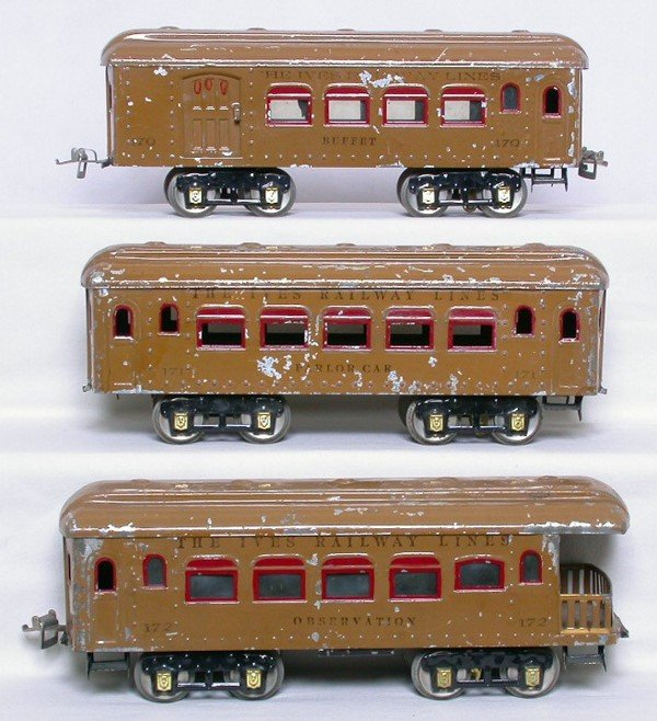 13: Ives WG light brown passenger cars 170 171 172
