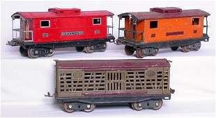Lionel SG 217 red and orange cabooses, 213 stock