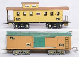 American Flyer WG 4011 yellow caboose 4018 boxcar