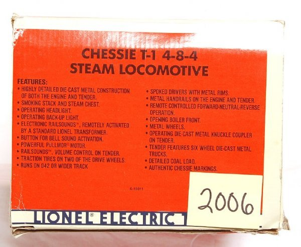 2006: Lionel 18011 Chessie T-1 4-8-4 Steam Loco in OB