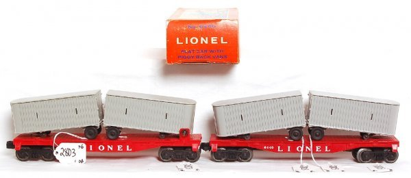 2803: Two Unrun Lionel 6440 flat and trailers, OB