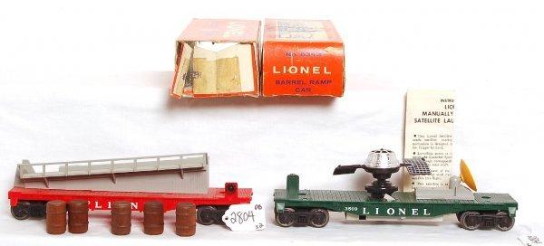 2804: Unrun Lionel 6343 barrel car, 3509 satellite, OB