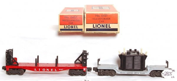 2805: Mint Lionel 6461 transformer, 6467 misc car, OB