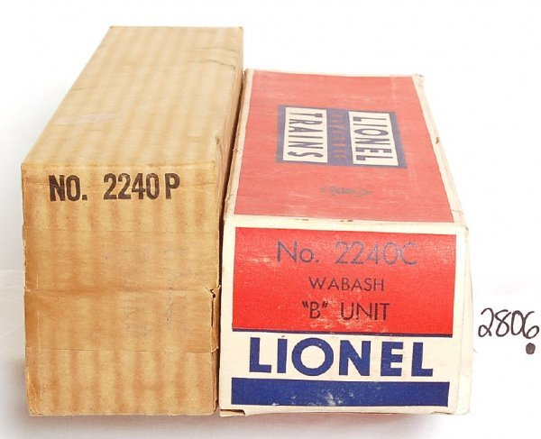 2806: Nice Lionel 2240 Wabash F3 AB boxes only