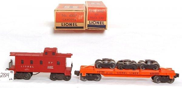 2814: Lionel 6362 wheel flatcar, 6357 caboose, OB