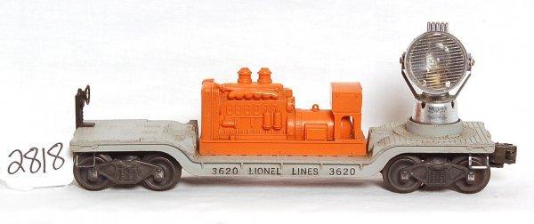 2818: Lionel 3620 orange hood searchlight car, OB
