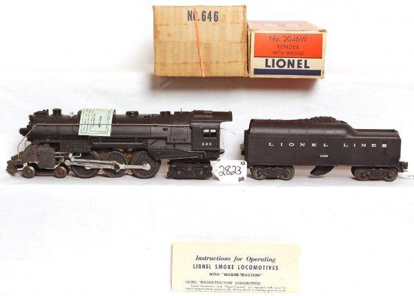 2823: Nice Lionel 646 Hudson, 2046W tender, OB