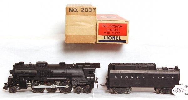 2824: Unrun Lionel 2037 steam loco, 6026W tender, OB